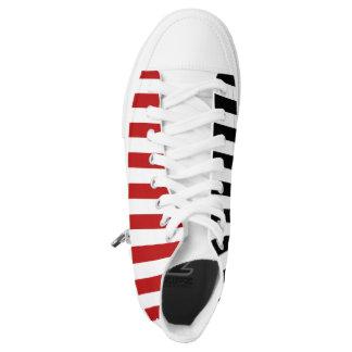PixDezines black, white, red stripes/DIY colors Printed Shoes