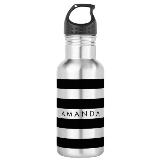 PixDezines black/white stripes/adjustable Water Bottle