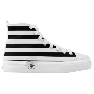 PixDezines black, white stripes/DIY colors Printed Shoes
