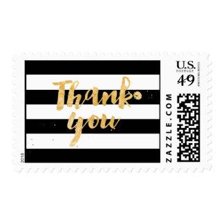PixDezines black/white stripes/thank you Postage Stamp