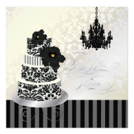 PixDezines Black White Wedding Cake Bridal Shower Custom Invite