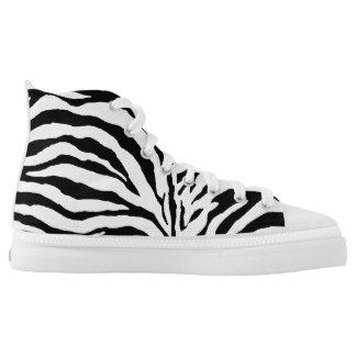 PixDezines black, white zebra stripes/DIY colors Printed Shoes