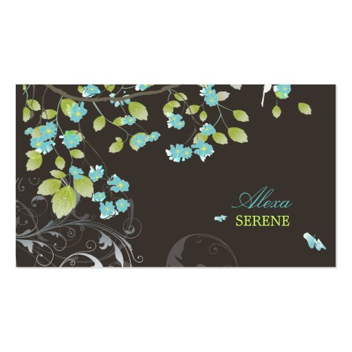 PixDezines blossoms+swirls/diy colors Business Card Template