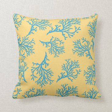 Beach Themed PixDezines blue coral/diy background Throw Pillow