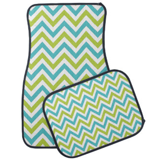 PixDezines blue+green chevrons/DIY background Car Mat