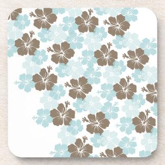 PixDezines blue hibiscus/diy background Beverage Coasters