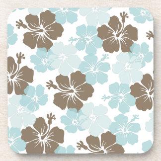 PixDezines blue hibiscus/diy background Drink Coaster