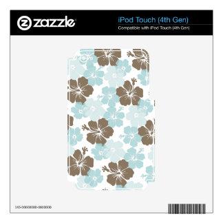 PixDezines blue hibiscus/diy background iPod Touch 4G Skin