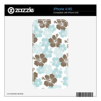 PixDezines blue hibiscus/diy background Skin For The iPhone 4S