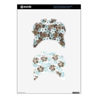 PixDezines blue hibiscus/diy background Xbox 360 Controller Decal