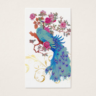 PixDezines Blue Peacock/Peony/diy background color Business Card