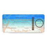 "PixDezines Boarding Pass+Beach Wedding Invitations 4"" X 9.25"" Invitation Card"