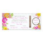 "PixDezines Boarding Pass Hibiscus Leis/diy bckgrnd 4"" X 9.25"" Invitation Card"