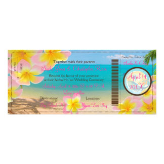 PixDezines Boarding Pass Pink Plumerias+beach Personalized Invitations
