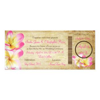 PixDezines Boarding Pass Pink Plumerias 4x9.25 Paper Invitation Card