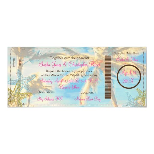 "PixDezines boarding pass vintage hawaiian beach 4"" X 9.25"" Invitation Card"