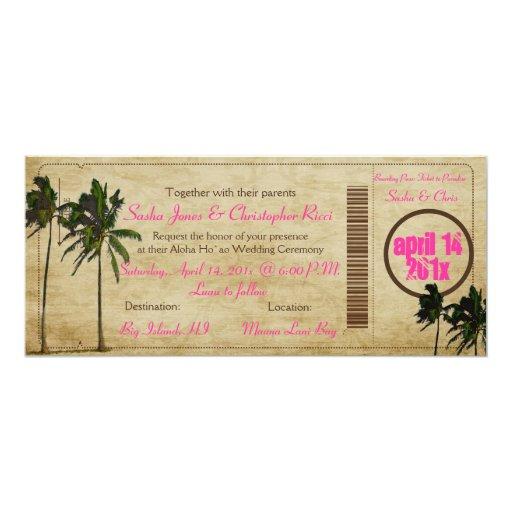 PixDezines Boarding Pass/vintage twin palms 4x9.25 Paper Invitation Card