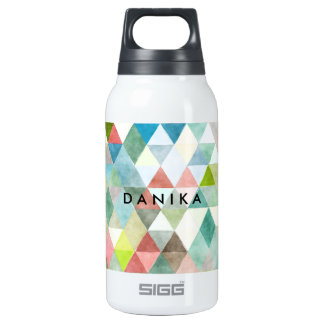 PixDezines Boho Watercolor Geometric/Triangles Insulated Water Bottle
