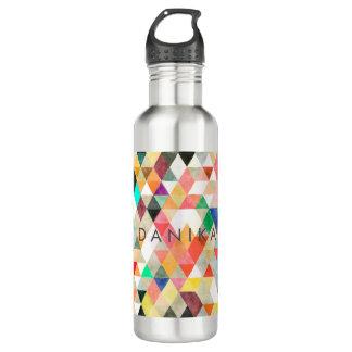 PixDezines Boho Watercolor Geometric/Triangles Water Bottle