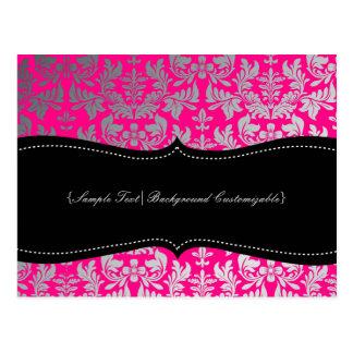 PixDezines Boroque Damask/Silver+Hot Pink Postcard