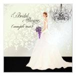 PixDezines Bride 2 B+purple calla 5.25x5.25 Square Paper Invitation Card