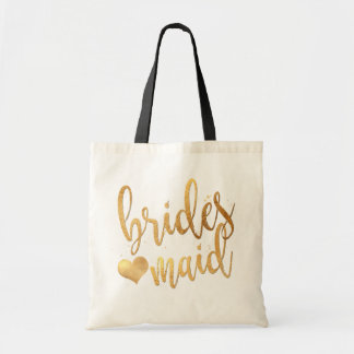 PixDezines Bridesmaid/Faux Gold Handwritten Script Tote Bag