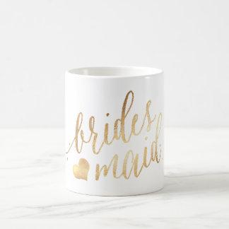 PixDezines Bridesmaid/Faux Gold/Modern Script Coffee Mug