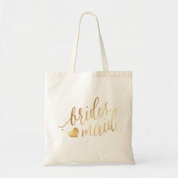 pixdezines PixDezines Bridesmaid/Faux Gold Script Tote Bag