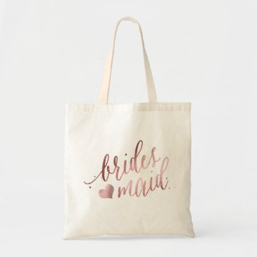 PixDezines PixDezines Bridesmaid/Faux Rose Gold Script Tote Bag