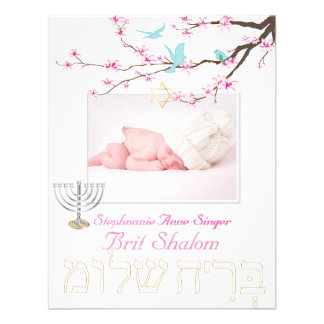 PixDezines brit shalom/cherry blossoms/diy color Personalized Invitations