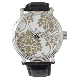 PixDezines bronze damask/diy background Wristwatches