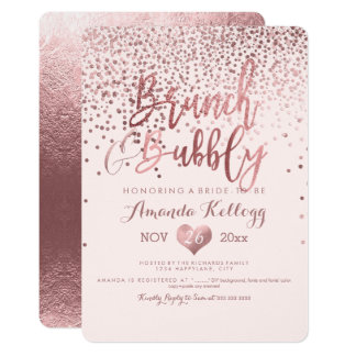 PixDezines Brunch N Bubbly/Rose Gold Confetti Card