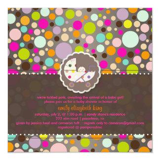 PixDezines bubble gum/baby shower/DIY 5.25x5.25 Square Paper Invitation Card
