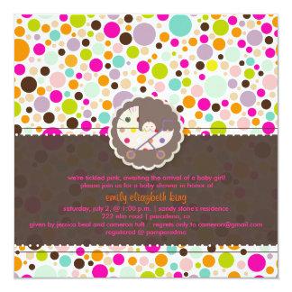 PixDezines bubble gumm/baby shower/DIY background 5.25x5.25 Square Paper Invitation Card