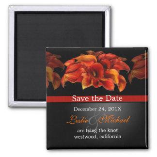 PixDezines Burnt Orange Calla Lily, Save the Date 2 Inch Square Magnet