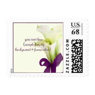 PixDezines Calla Lily Bouquet/Purple Ribbon Postage Stamp