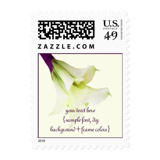 PixDezines Calla Lily Bouquet/Purple Ribbon Postage Stamps