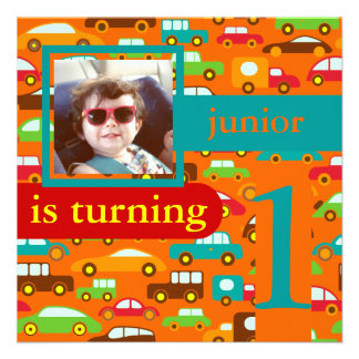 PixDezines cars+trucks/ birthday/DIY color Personalized Invites