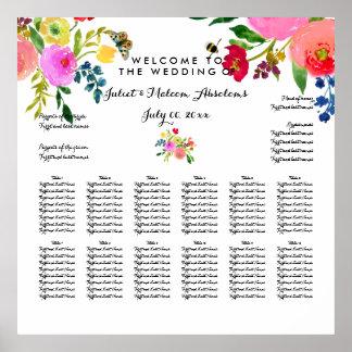 PixDezines carta floral de Watecolor/del asiento Póster