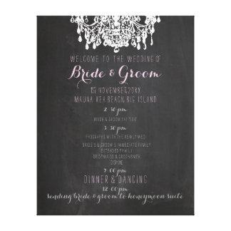 PixDezines chalkboard/chandelier wedding program Canvas Print
