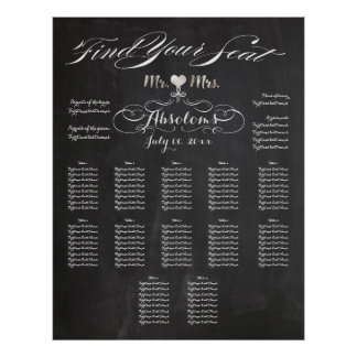 PixDezines Chalkboard Find Your Seat/Seating Chart