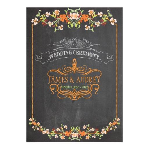 PixDezines chalkboard/floral/diy background color Custom Invitation