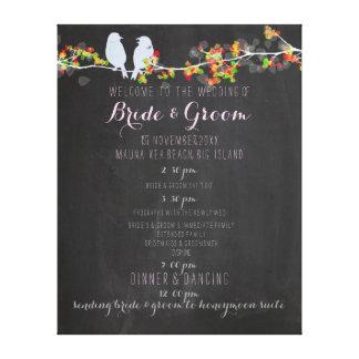 PixDezines chalkboard/lovebirds wedding program Canvas Print