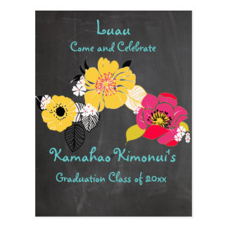 PixDezines chalkboard luau Graduation/tropical Postcard