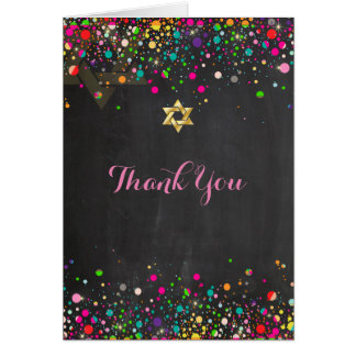 PixDezines Chalkboard Rainbow Confetti/Thank You Stationery Note Card
