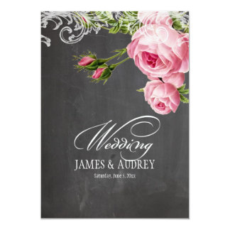 PixDezines chalkboard/rococo/vintage roses Card
