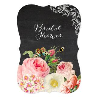 PixDezines chalkboard/victorian roses/bridal showe Card