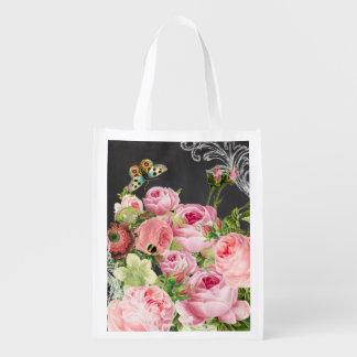 PixDezines chalkboard/vintage roses Grocery Bag