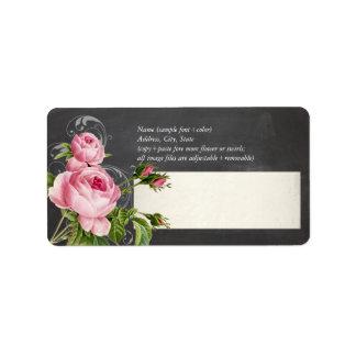 PixDezines chalkboard+vintage roses Label