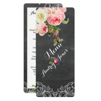 PixDezines Chalkboard/Vintage Roses Menu Card